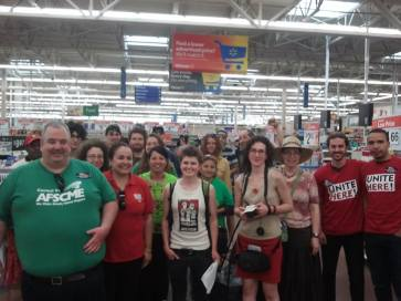 RI JwJ goes to Walmart to stand with workers around the country organizing for respect, and talk with local workers about the campaign.