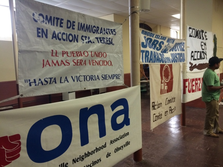 Banners representing the organizations who are part of the Todos Somos Arizona Coalition